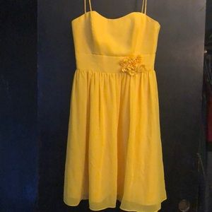 Yellow Alfred Angelo dress with spaghetti straps